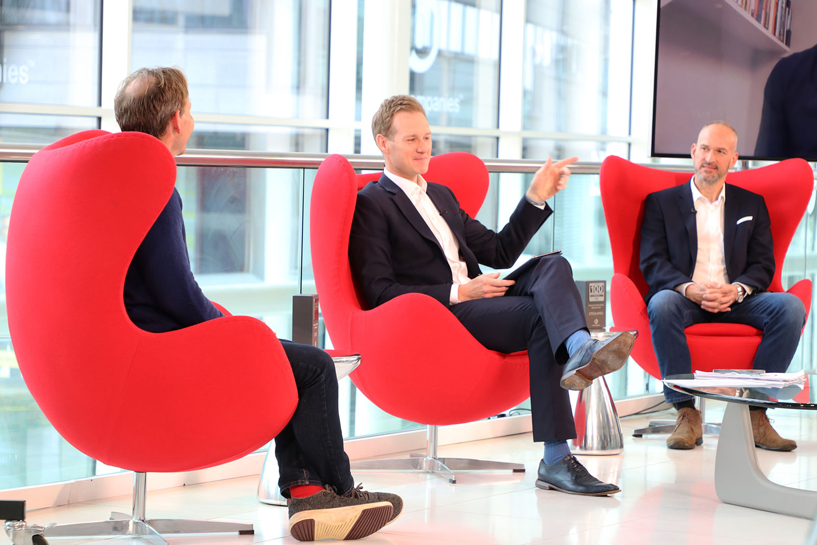 TV Presenter Dan Walker talking to special Guests Toby Pearson of DTSquared and Edward Perry CEO of COOK Trading