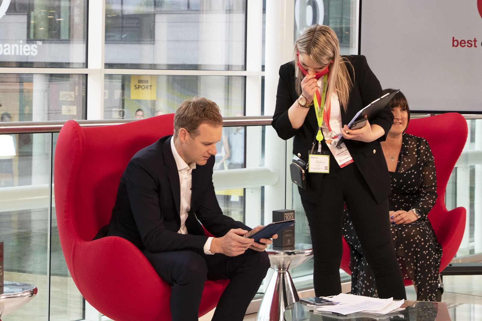 TV Presenter Dan Walker with CEO and co-founder of Onefile Susanna Lawson and a member of the Best Companies Live Team on set