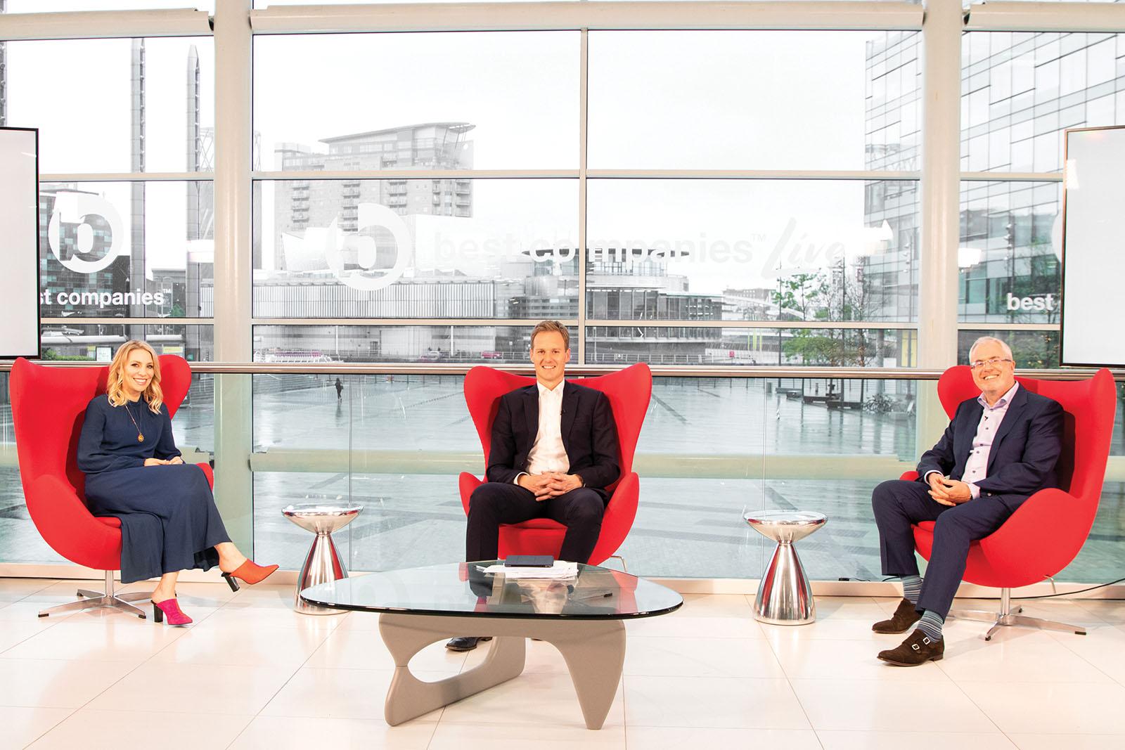 Actress Jemma Bolt, Presenter Dan Walker and Best Companies CEO Jonathan Austin on set at Best Companies Live