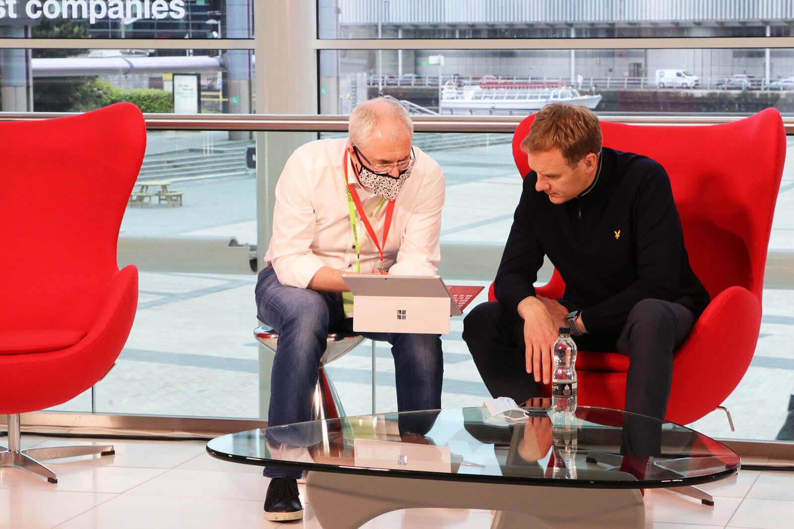 Best Companies CEO Jonathan Austin and TV Presenter Dan Walker on set at Best Companies Live