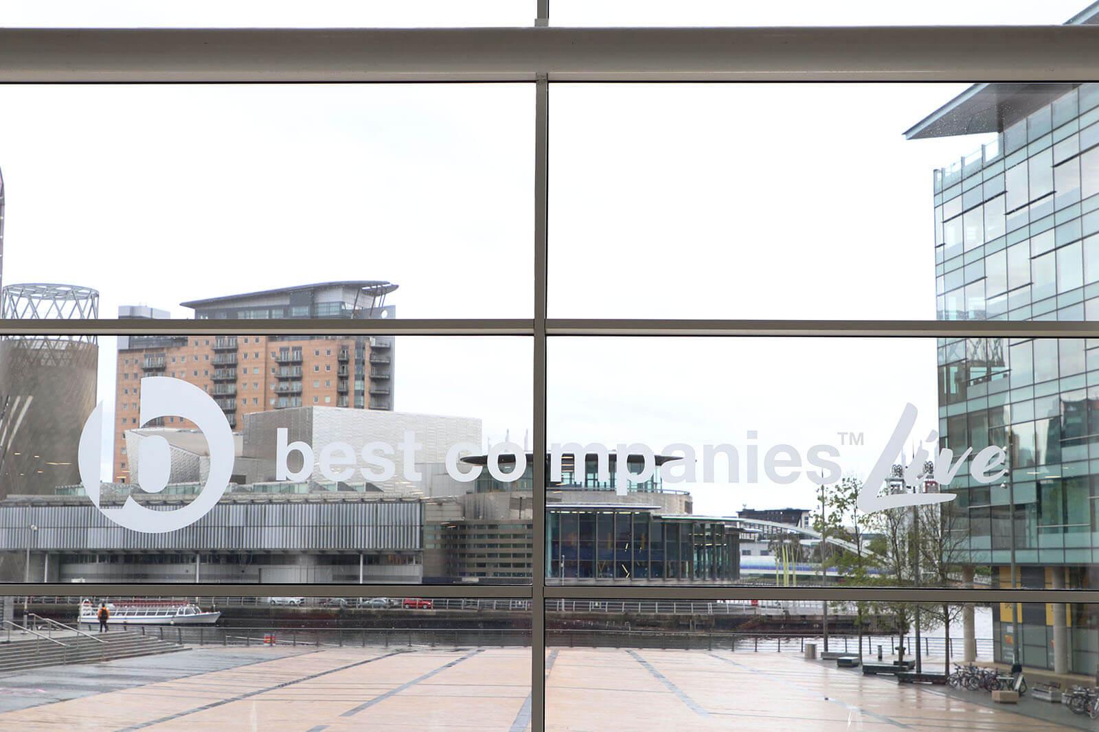 Best Companies Live Logo on window at Media City