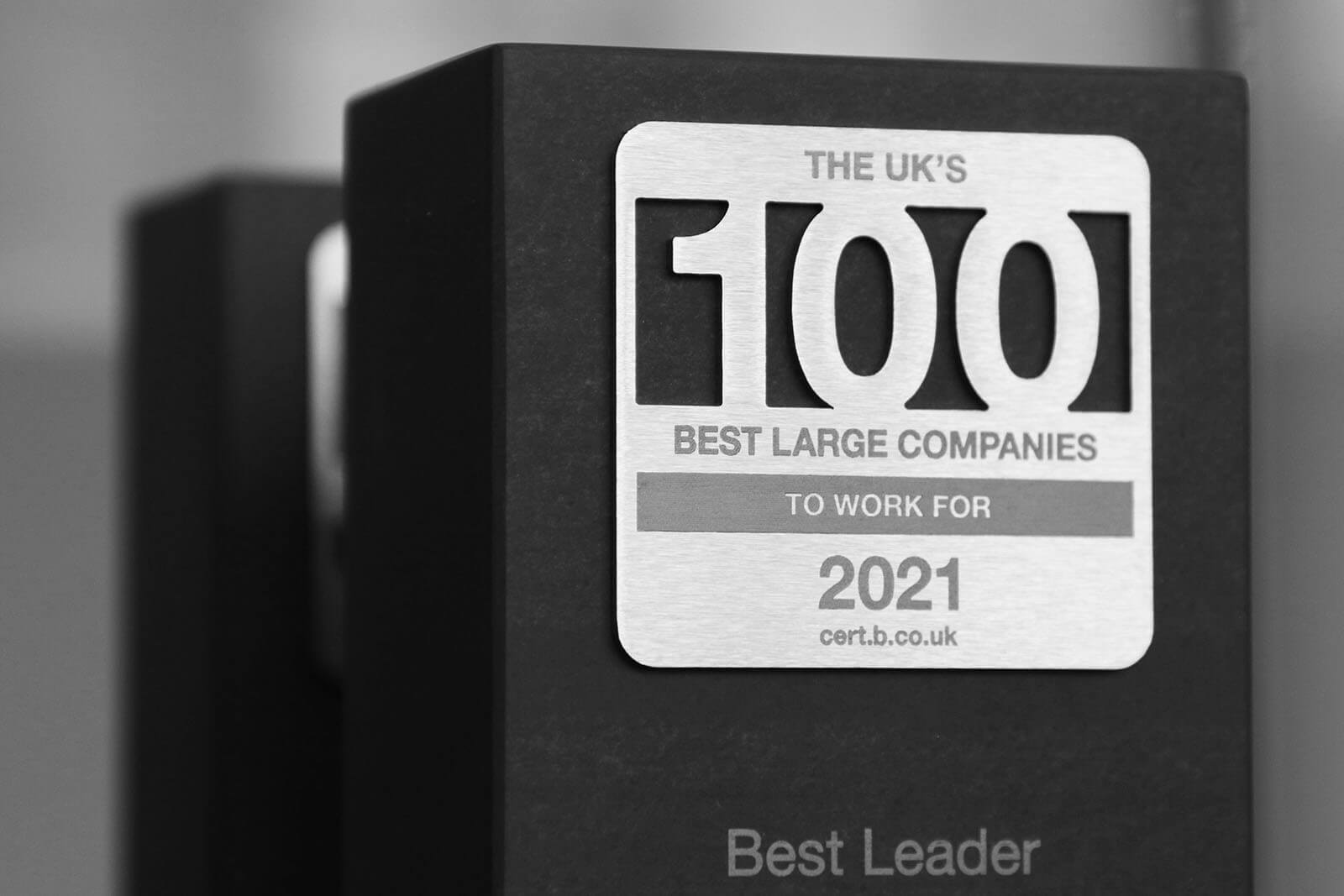 The UK's Best Large 100 Companies to Work For 2021 award at Best Companies Live