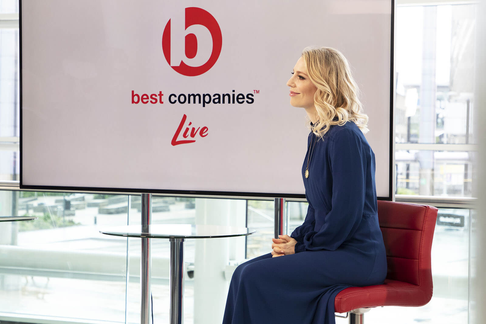Jemma Bolt on the set of Best Companies Live at Media City UK