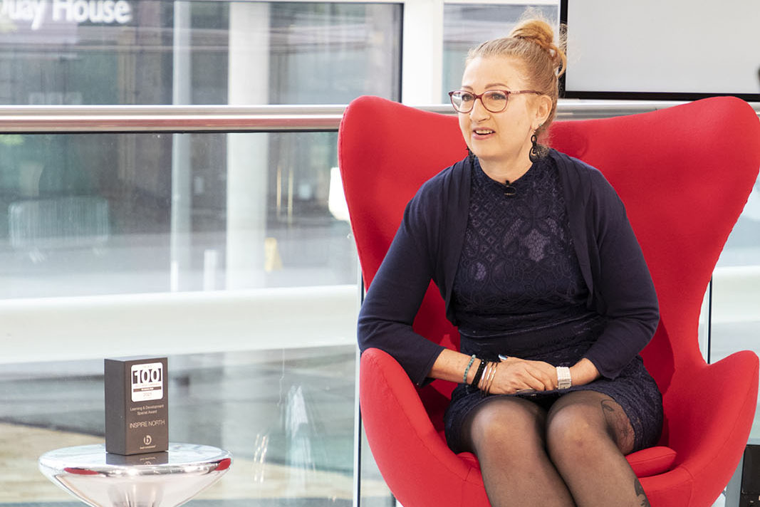 CEO of Inspire North Ruth Kettle on set at Best Companies Live discussing  the Learning and Development Special Award