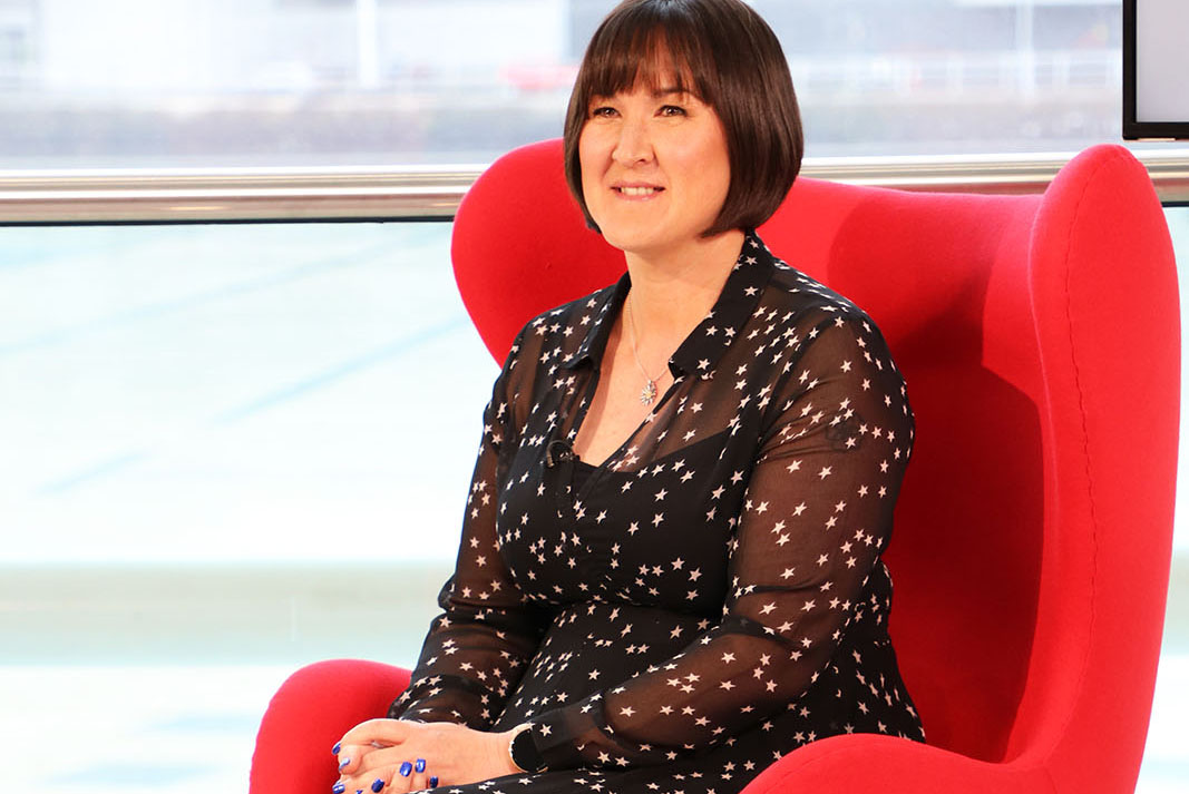 CEO and co-founder of Onefile Susanna Lawson on the set of Best Companies Live
