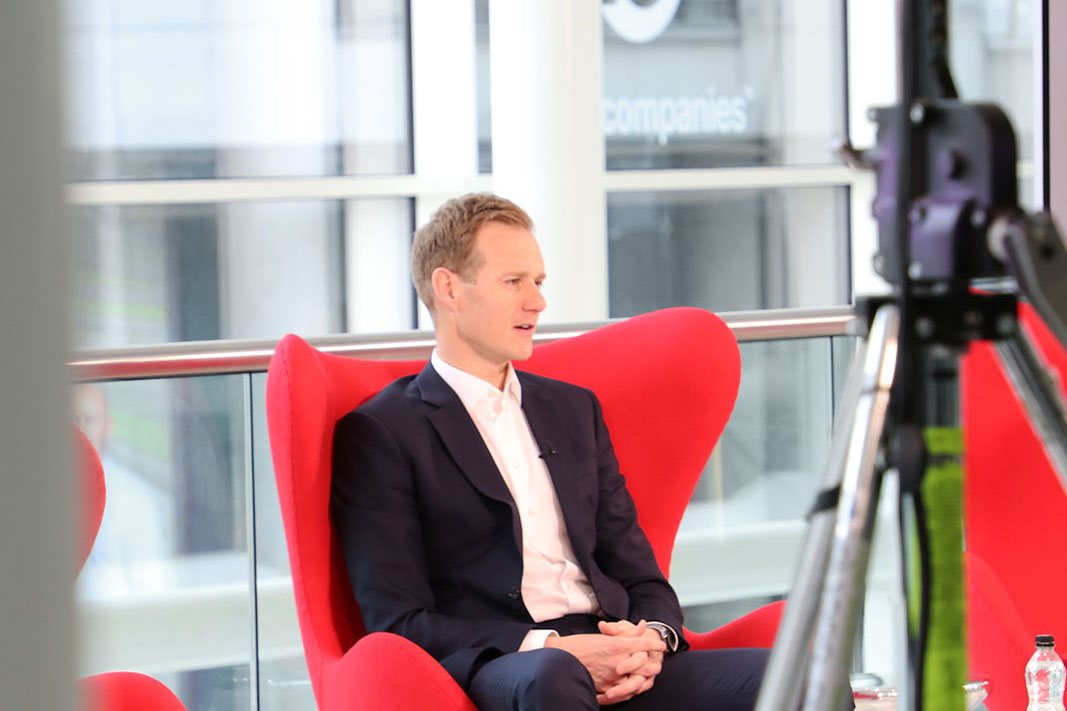 A behind the scenes look at Dan Walker on set at Best Companies Live
