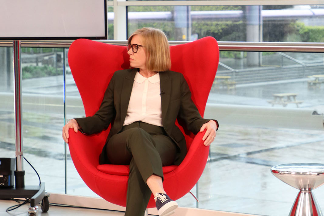 Camelot UK Lotteries People Director Rachel King on the set of Best Companies Live