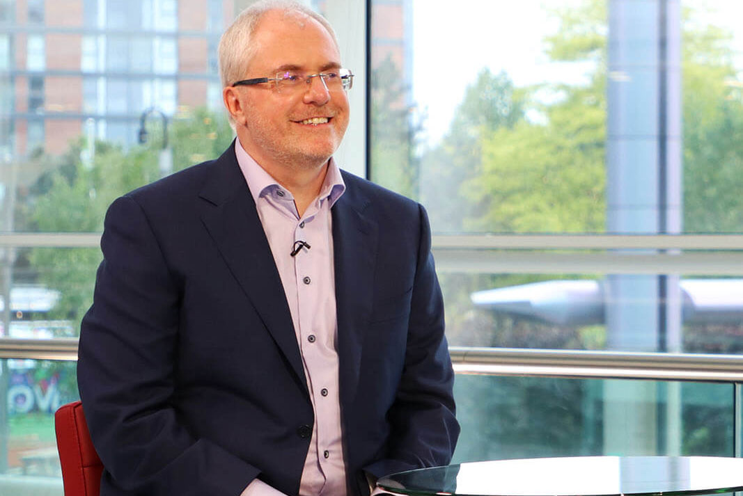 Best Companies CEO Jonathan Austin on the set of Best Companies Live at Media City UK