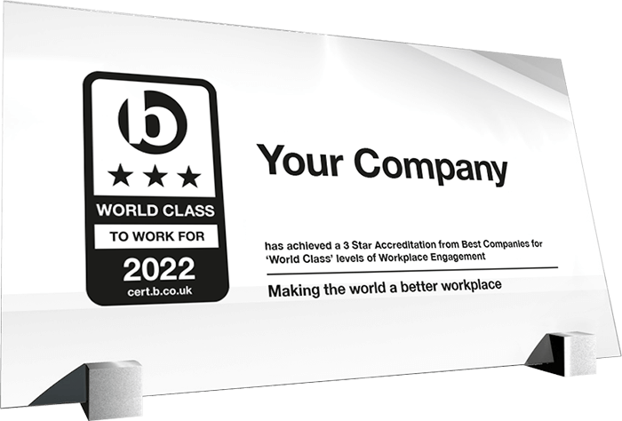 Best Companies to Work For 2021 World Class Accreditation plaque