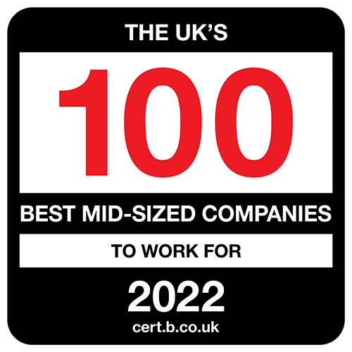 The UK's 100 Best Mid-Sized Companies to Work For 2021 list logo