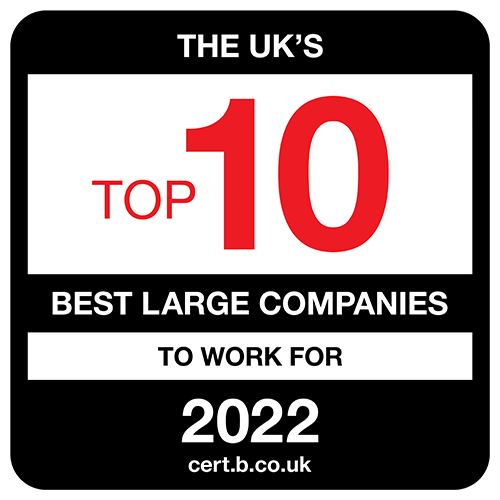 The UK's Top 10 Best Mid-Sized Companies to Work For 2021 list logo