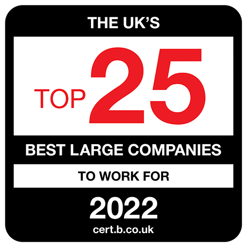The UK's Top 25 Best Mid-Sized Companies to Work For 2021 list logo