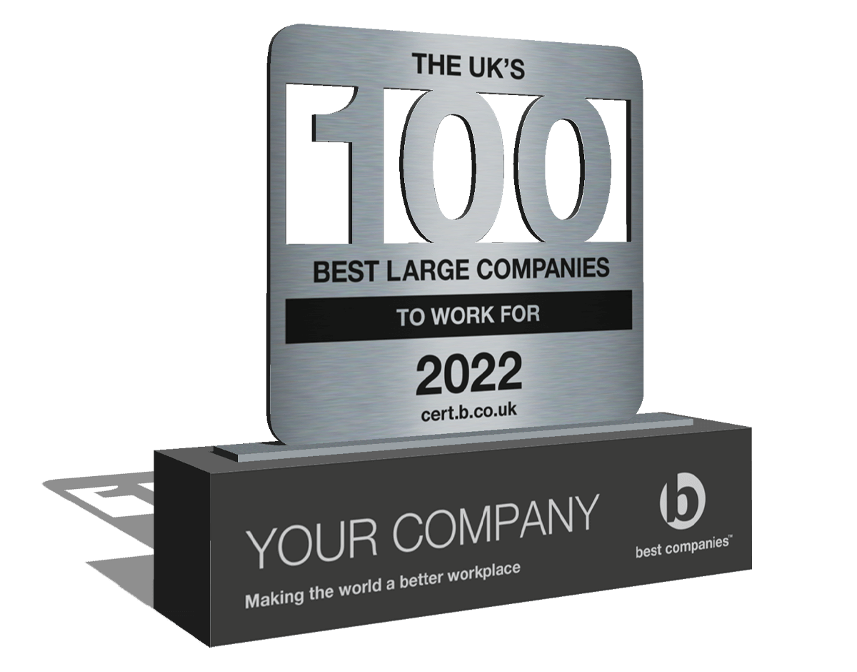The UK's 100 Best Mid-Sized Companies to Work For 2021 list award trophy