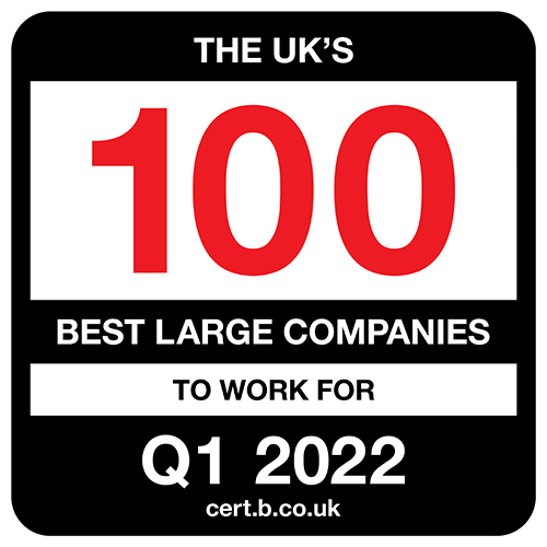 The UK's 100 Best Large Companies to Work For 2022 Q1 list logo