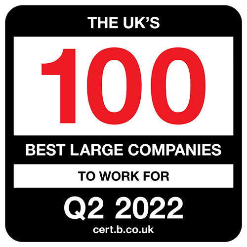 The UK's 100 Best Large Companies to Work For 2022 Q2 list logo