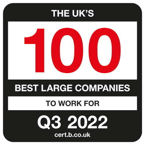 The UK's 100 Best Large Companies to Work For 2022 Q3 list logo