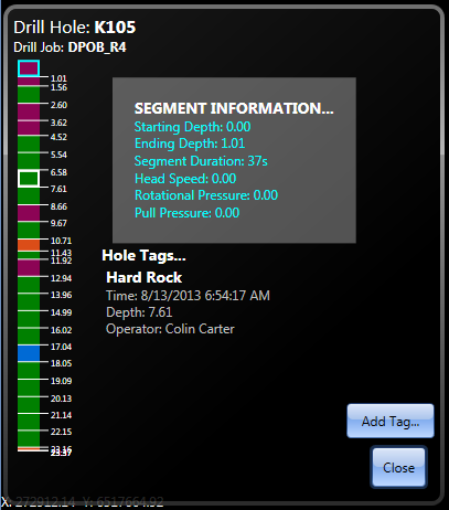 Screenshot of Wenco Drill Navigation hole information view