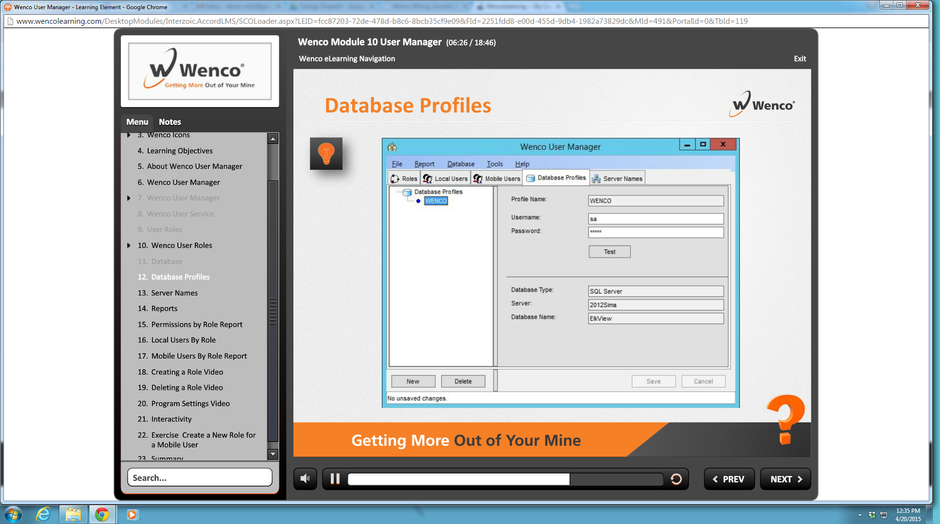 Screenshot of WencoLearning