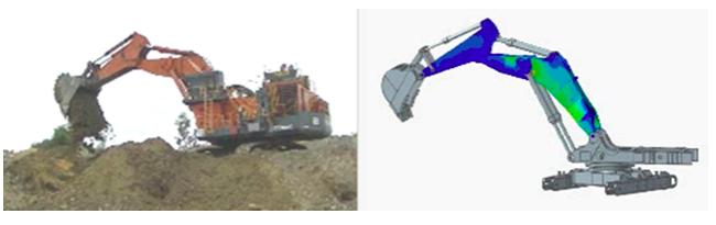 Visualization of load analysis occurring on Hitachi excavator.