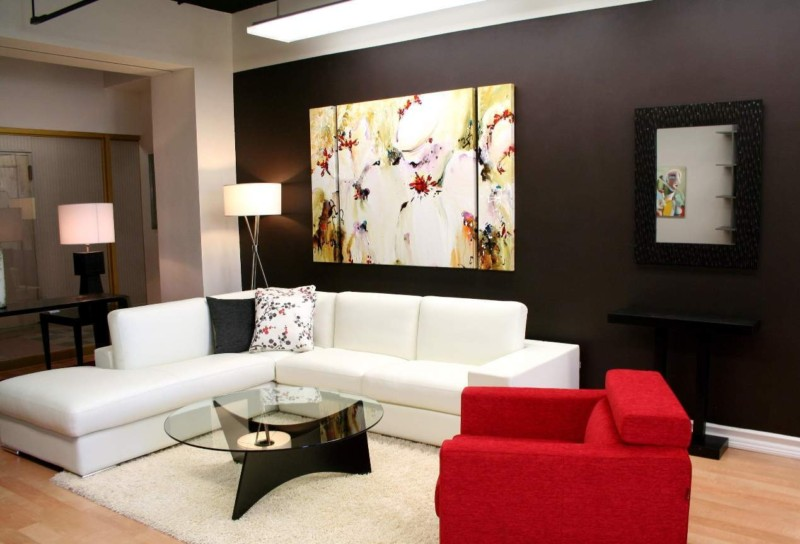 Modern Condo Living Room Design With Accent Wall Color And Wall Art And White Sectional Sofa Inside Condo Living Room Furniture