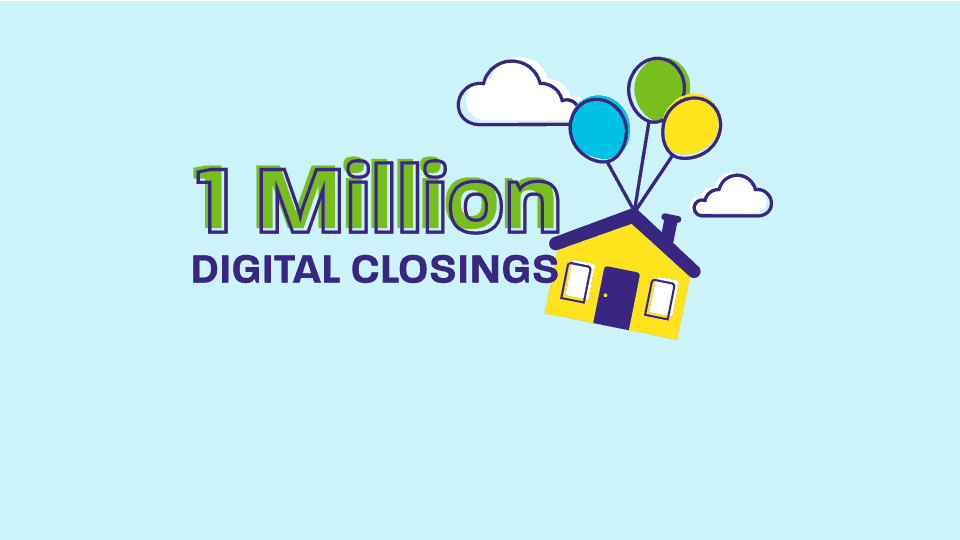 graphic of home suspended with balloons containing text, 1 million digital closings