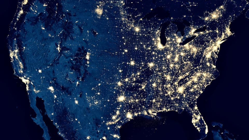 aerial view of united states at night