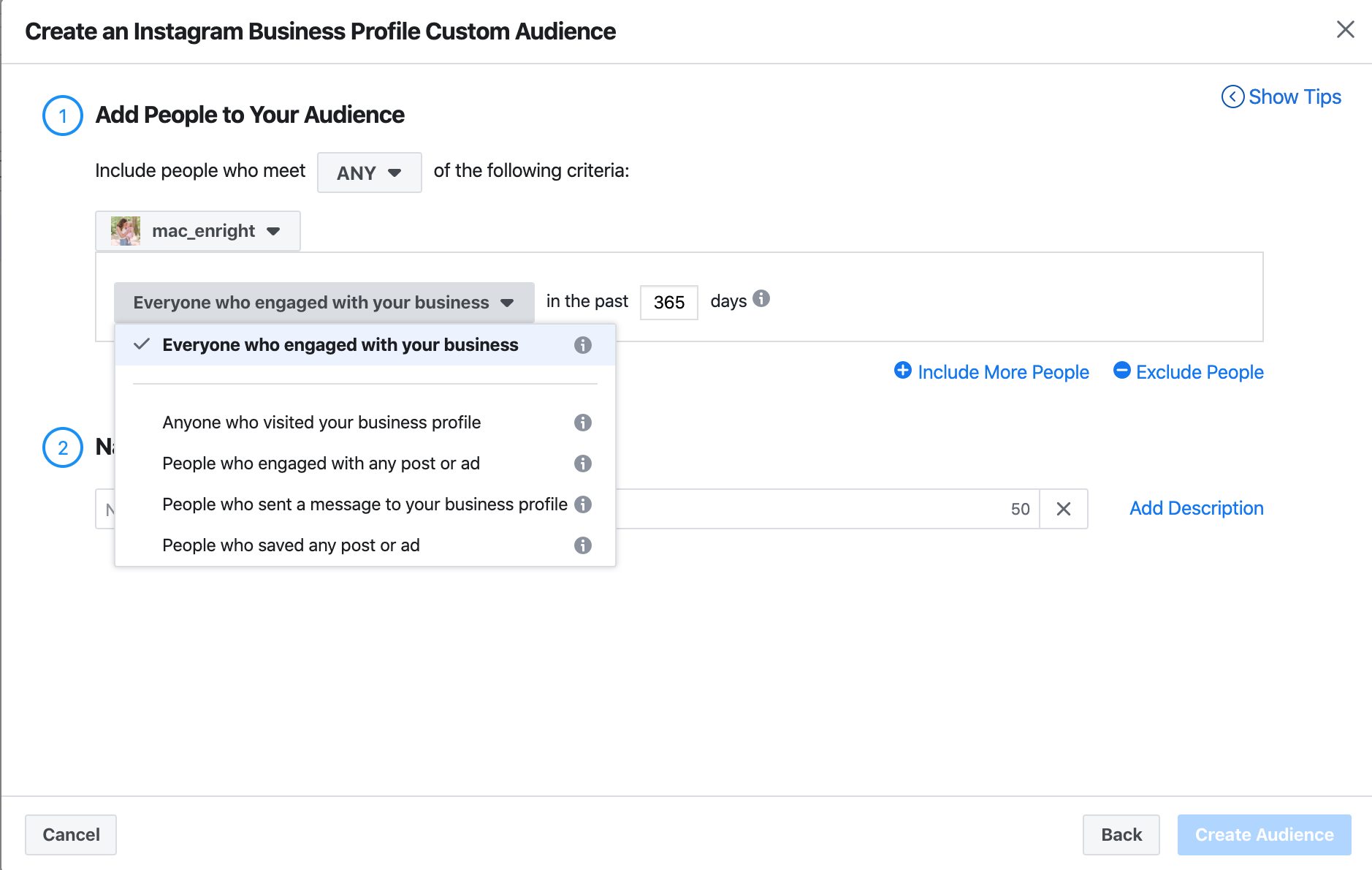 Types of influencer engagement audiences to create in Facebook Audience Manager