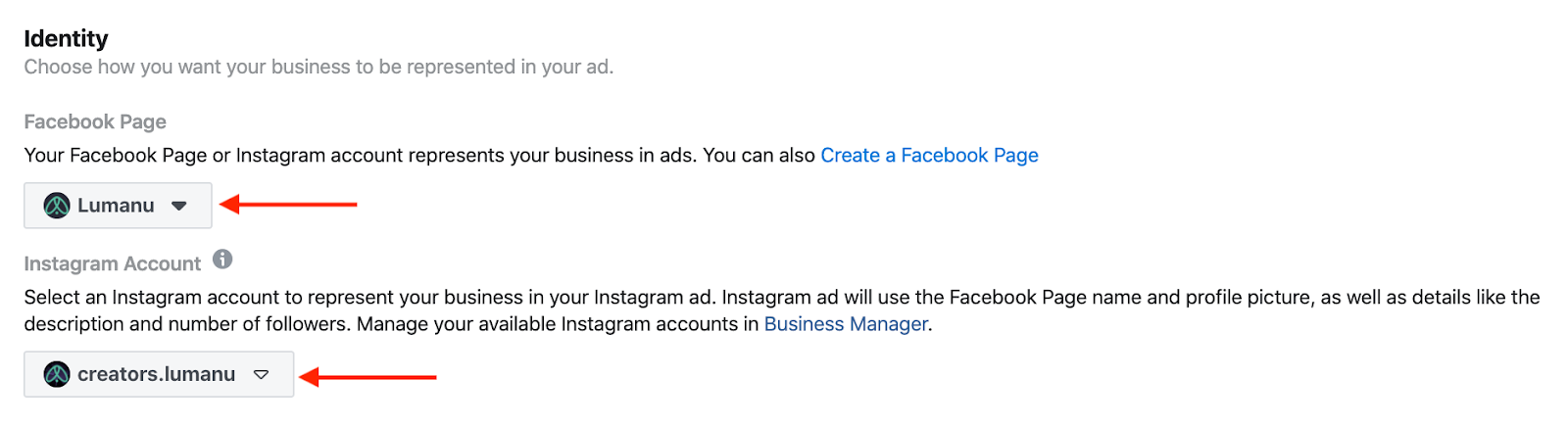 Setting ad identity in Facebook Ads Manager