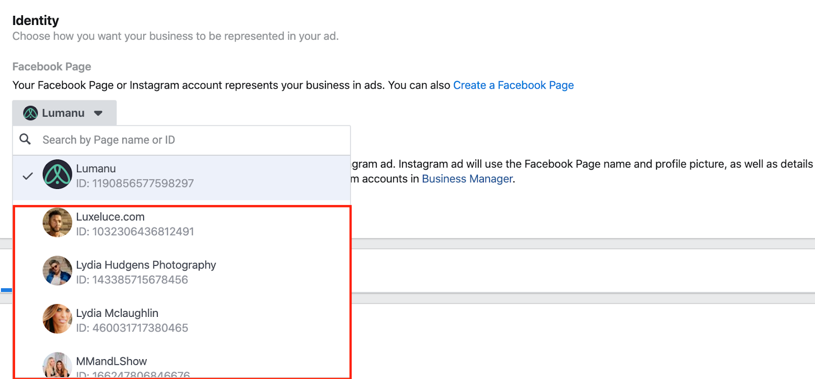 Setting ad identity as influencer in Facebook Ads Manager