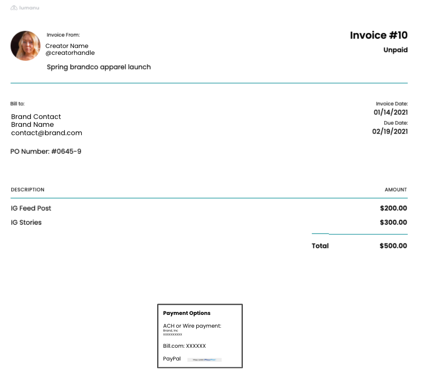Lumanu invoicing for content creators