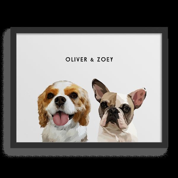 Custom Two-Pet Portraits, Framed