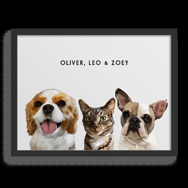 Custom Three-Pet Portraits
