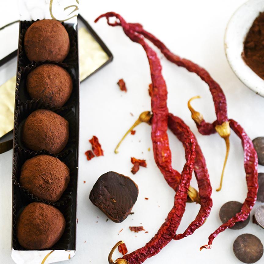 Dark Chocolate Chili Truffles