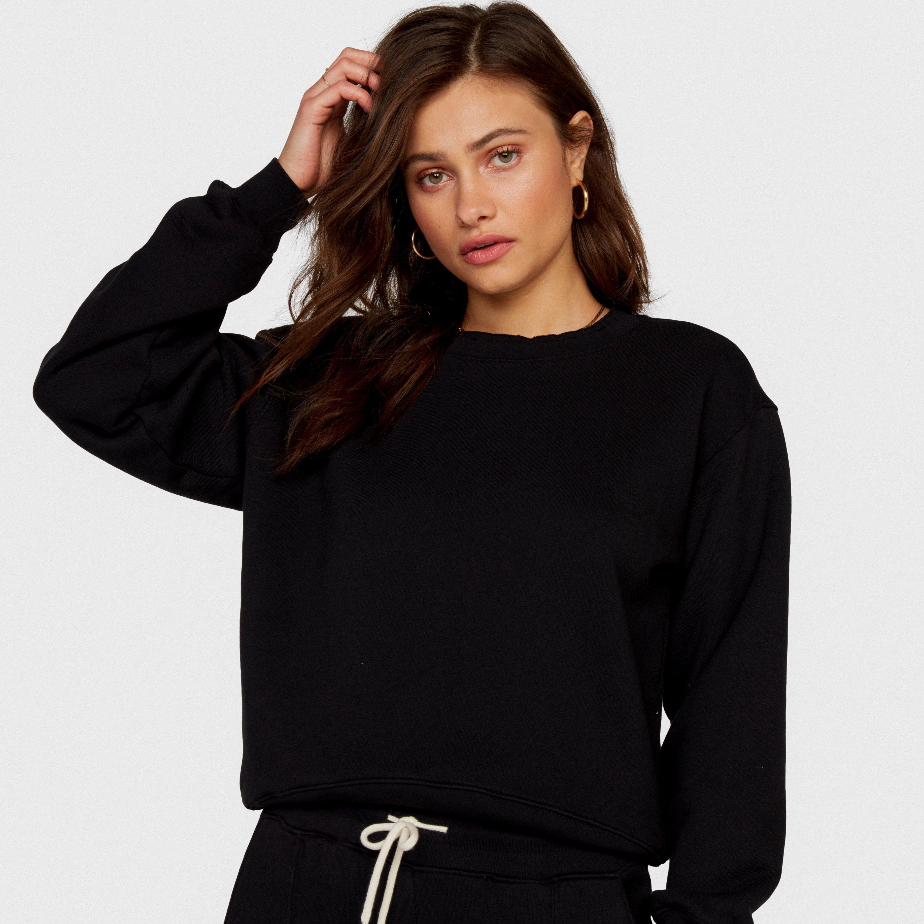 Fleece Raw Neck Sweatshirt