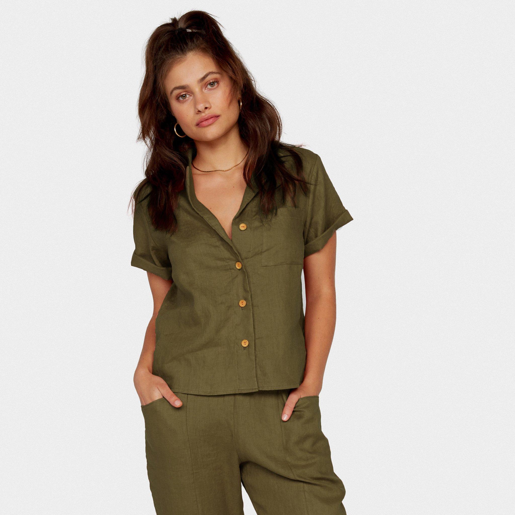 Linen Boxy Button-Up Shirt