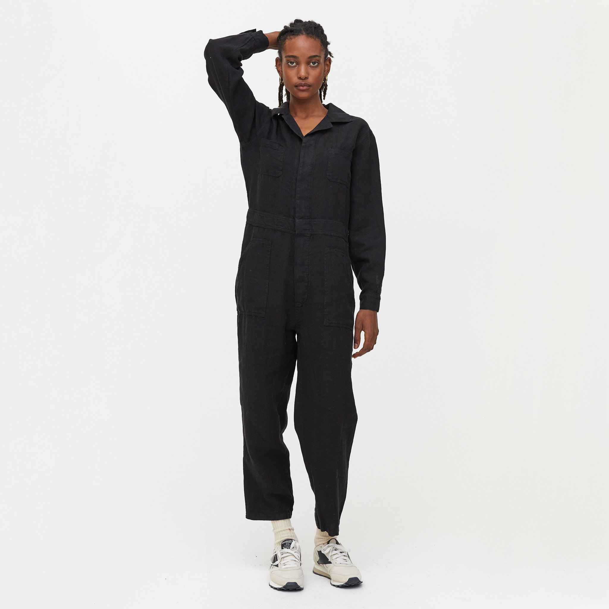 Linen Long Sleeve Jumpsuit