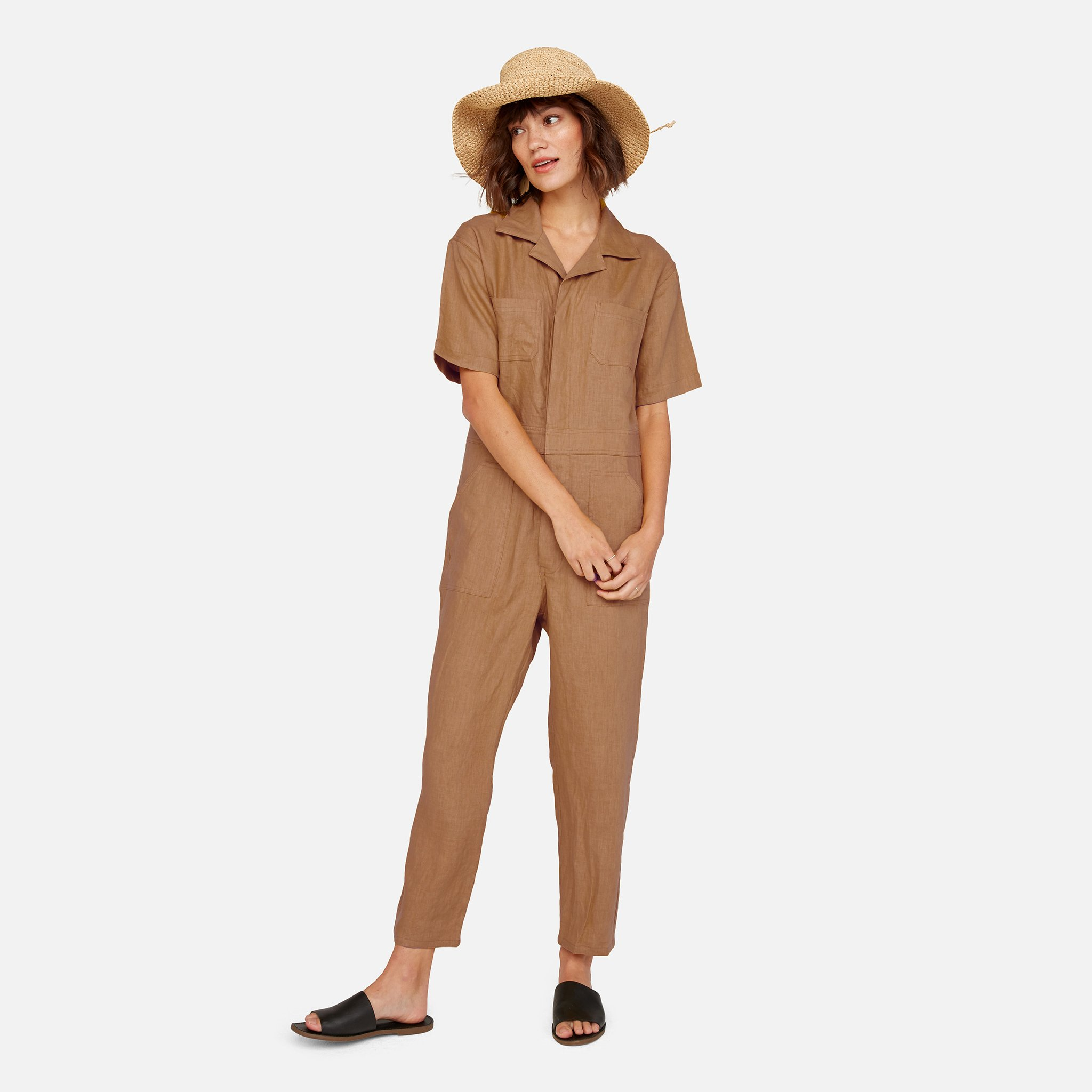 Linen Short Sleeve Jumpsuit