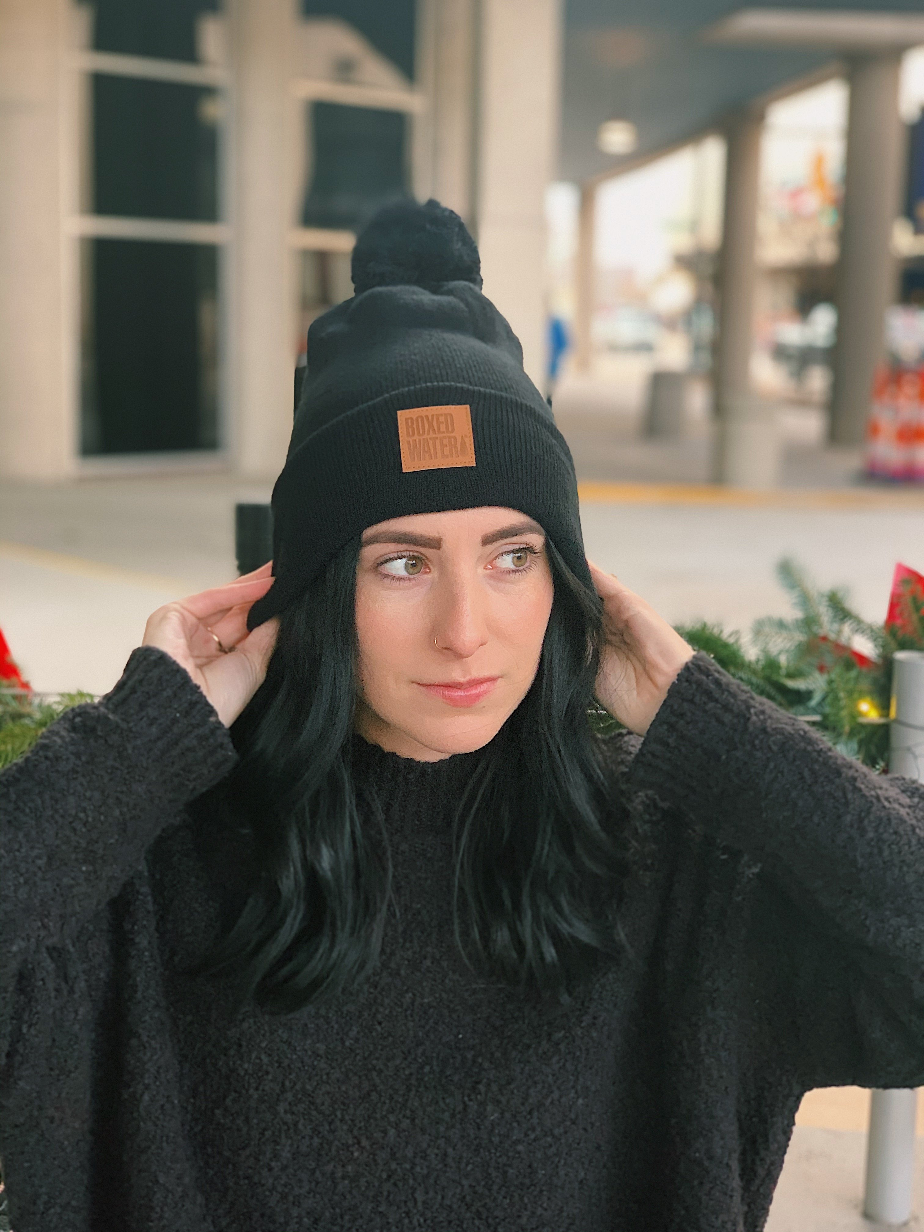Boxed Water Leather Patch Beanie
