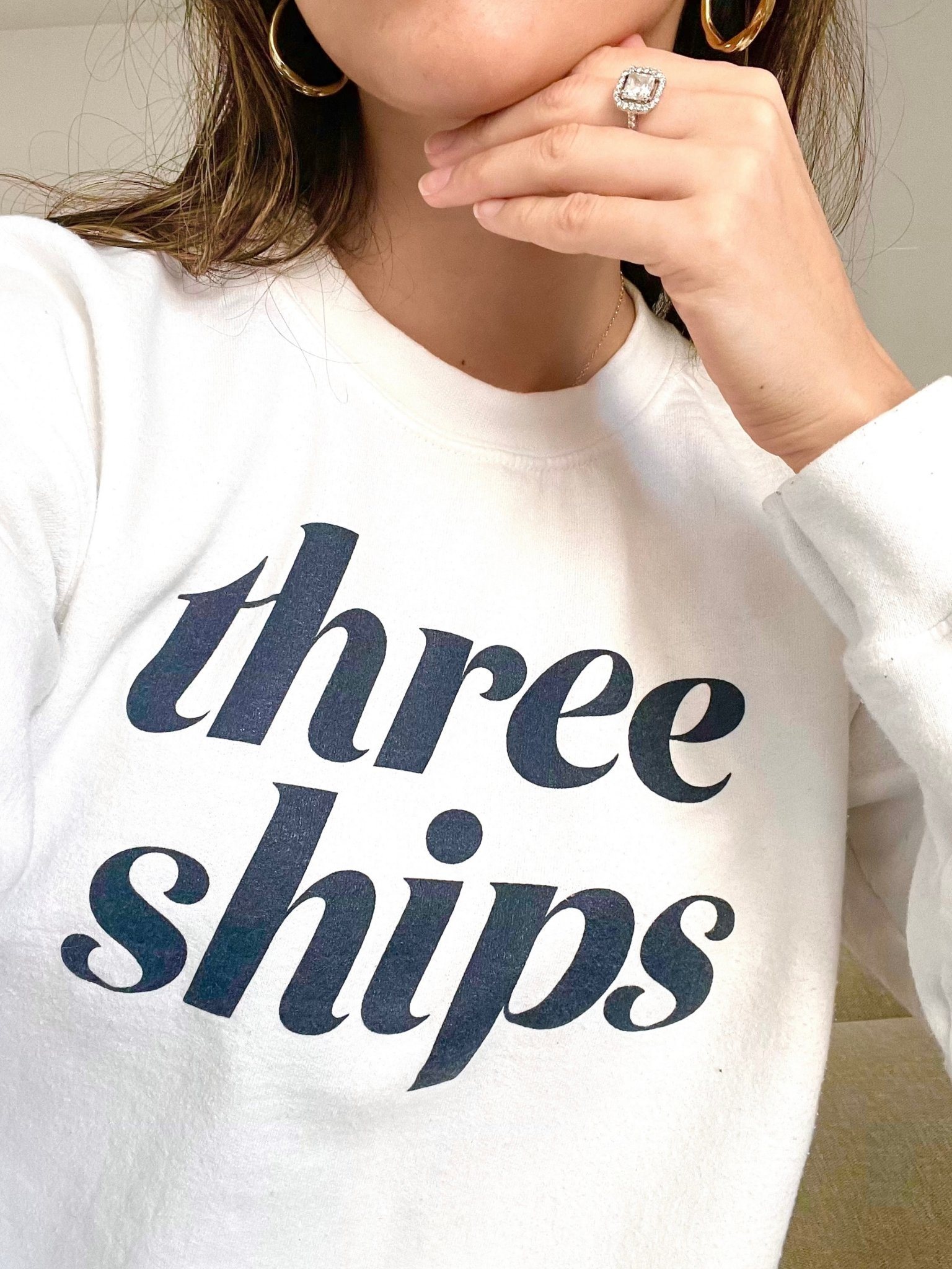 White Three Ships Crewneck