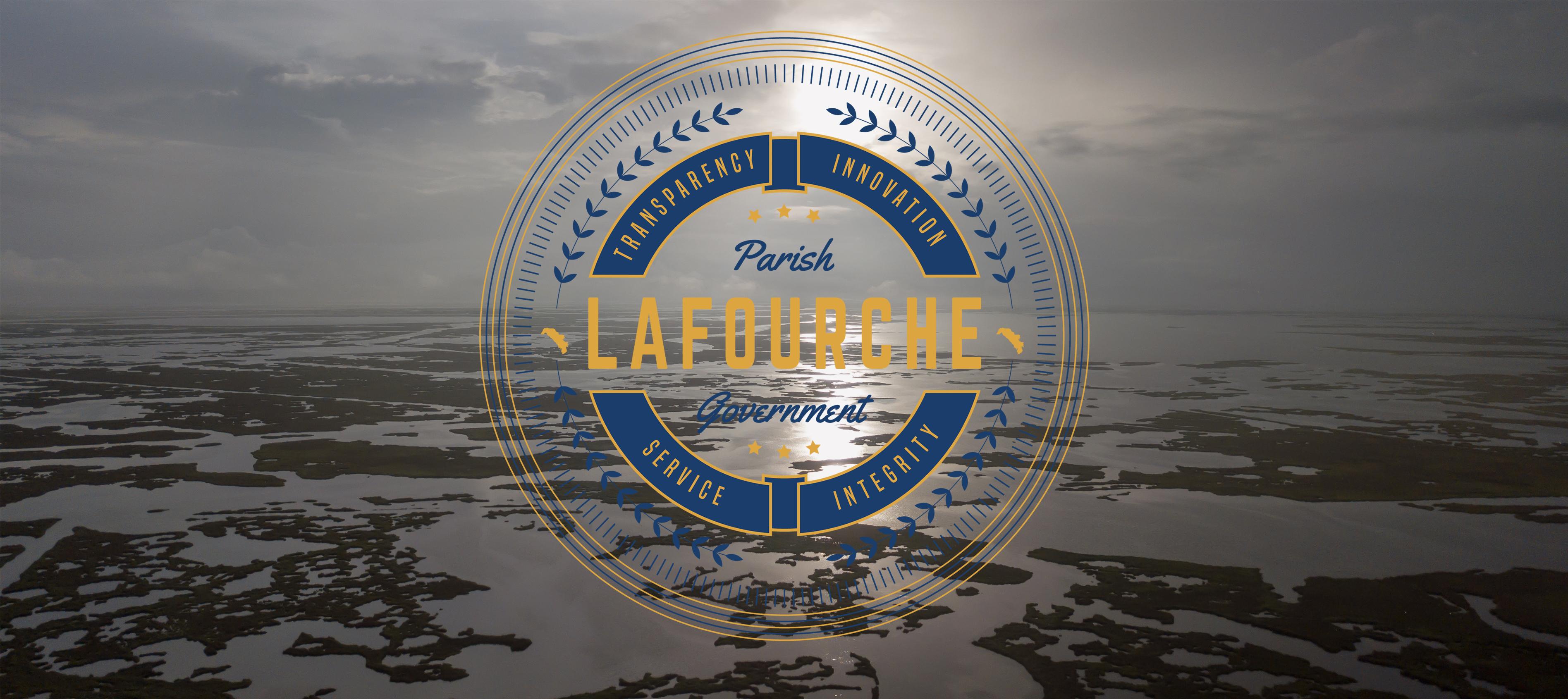 Lafourche Logo Over Marsh