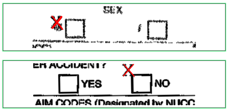 Image of CMS-1500 form where the checkmarks are outside the appropriate box, making it difficult for RPA or OCR to pick up on.