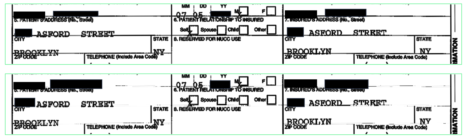Image of a CMS-1500 form where information is outside the correct box.