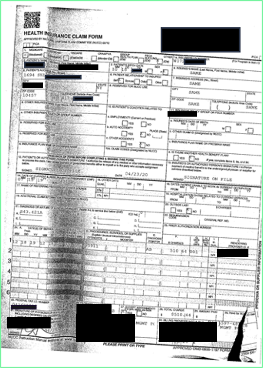 Image of a CMS-1500 form that is crumpled from improper scanning.