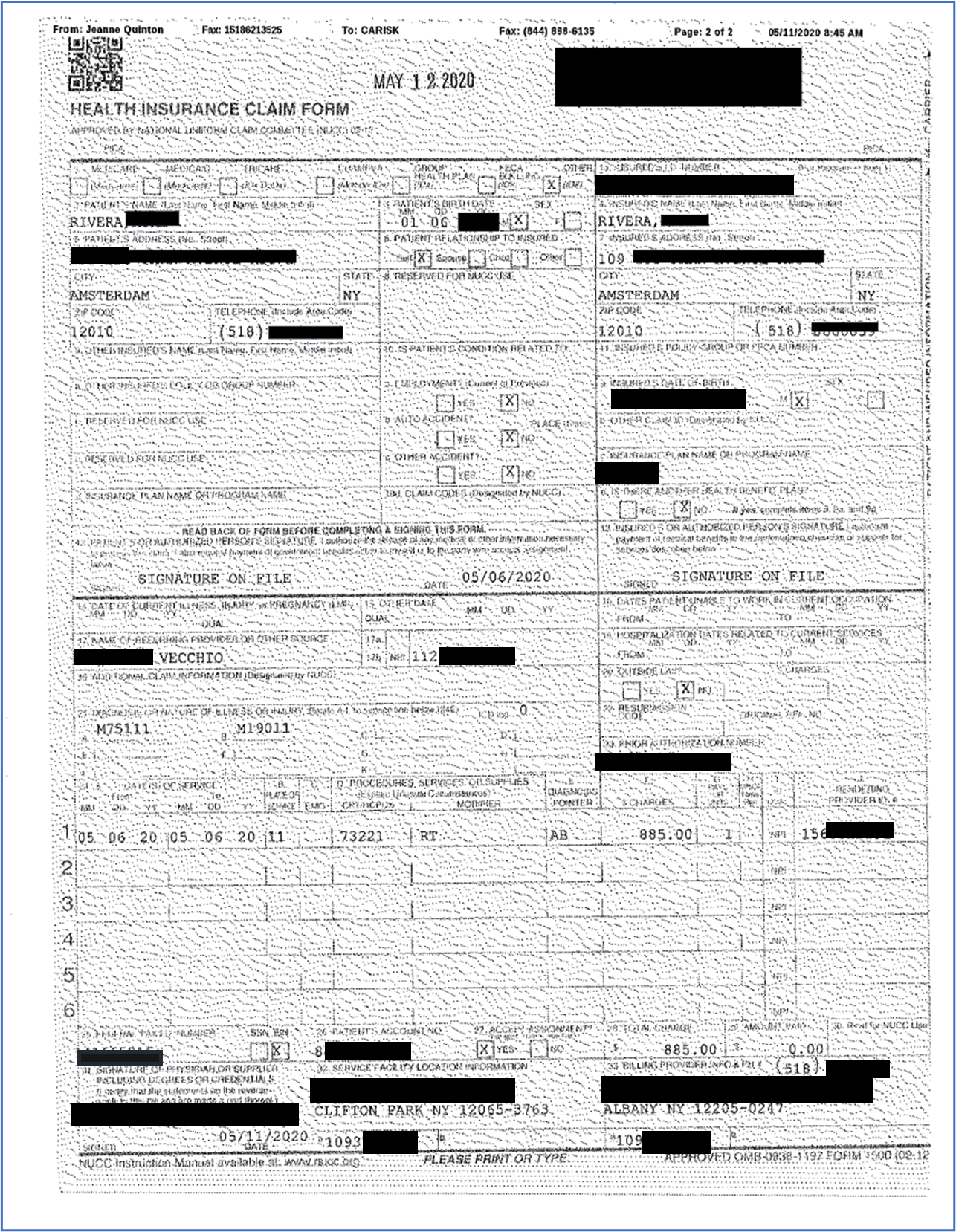 Image of a hard-to-read CMS-1500 form.
