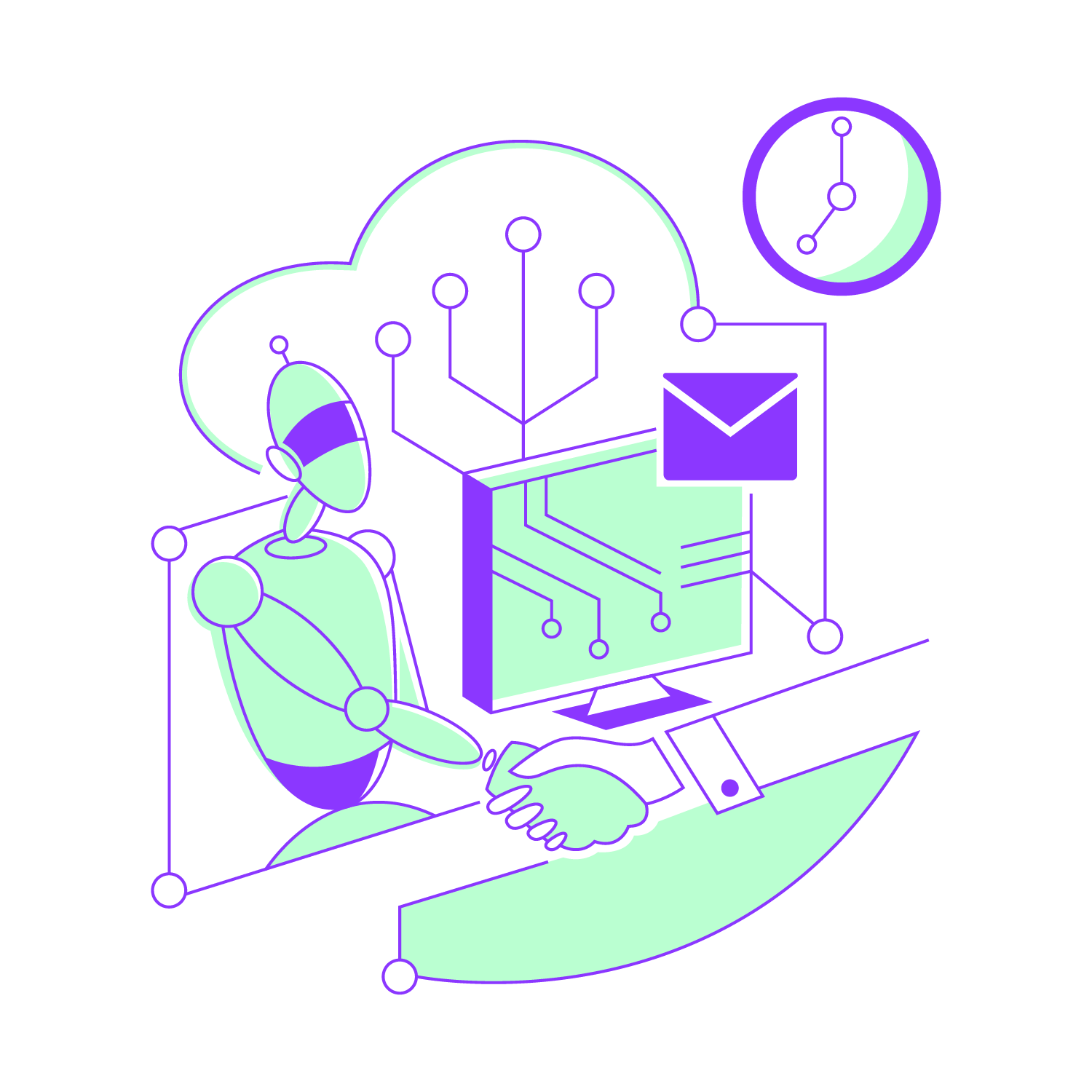 Illustration of a robot interacting with a human by a computer, to represent the cognitive bots working alongside a human workforce.