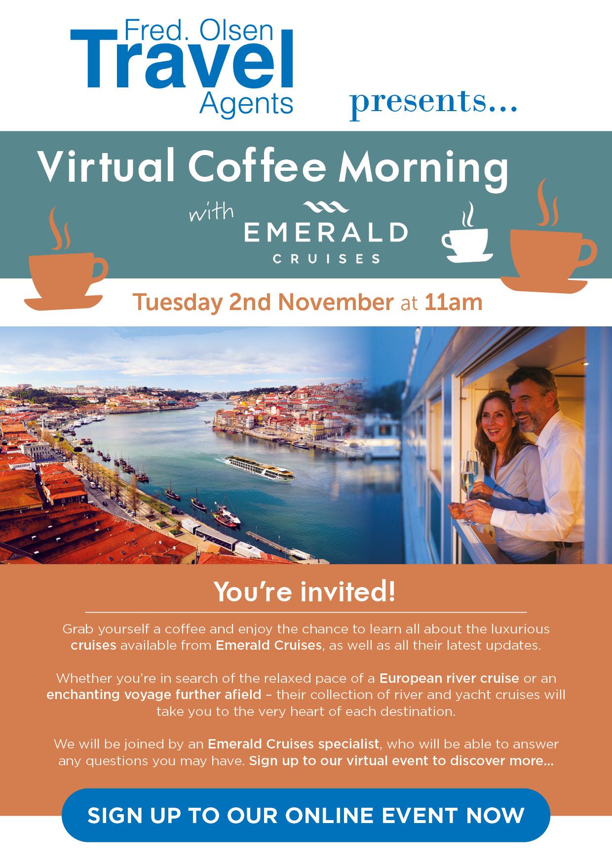 Virtual Coffee Morning with Emerald Cruises