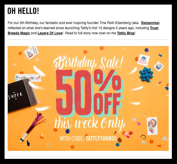 Tattly Promotional Emails - Sendlane
