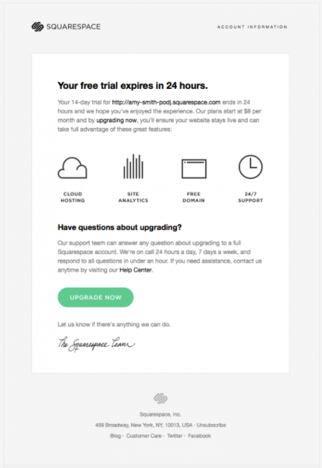 Less Is More Emails - Squarespace