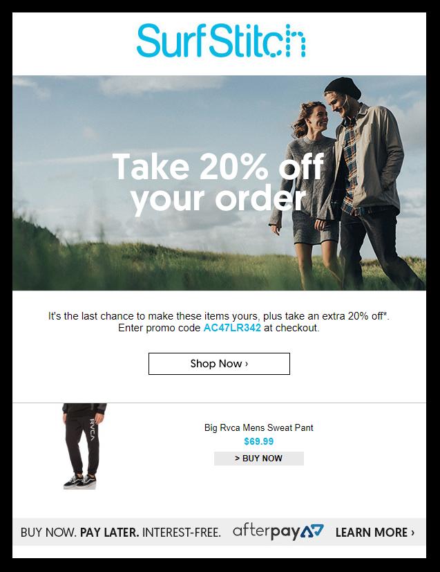 Surf Stitch Promotional Emails - Sendlane