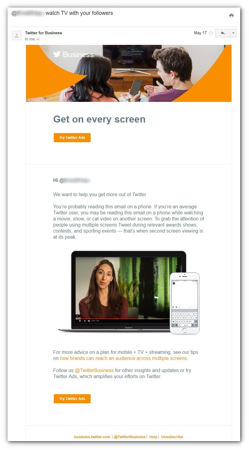 email campaigns to sell ads - email 1